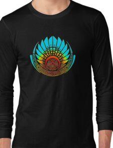 Mayan mask, crop circle, Quetzalcoatl Long Sleeve T-Shirt