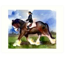 Clydesdale Horse Under Saddle Portrait Art Print