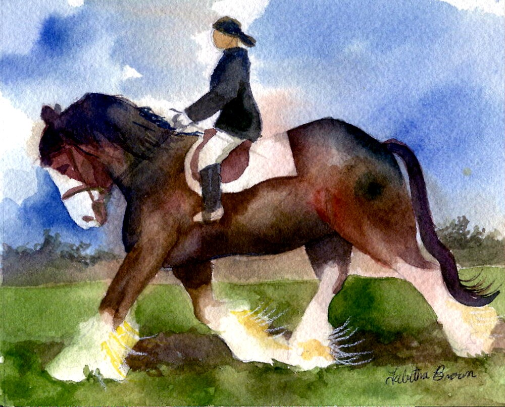 Clydesdale Horse Under Saddle Portrait by Oldetimemercan