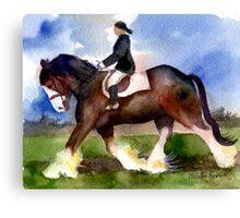 Clydesdale Horse Under Saddle Portrait Canvas Print