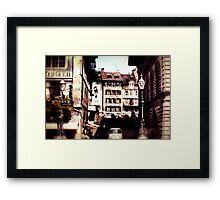 Vintage Old City With lamps Framed Print