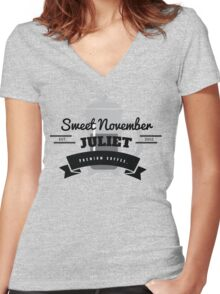 November Juliet Coffee Women's Fitted V-Neck T-Shirt