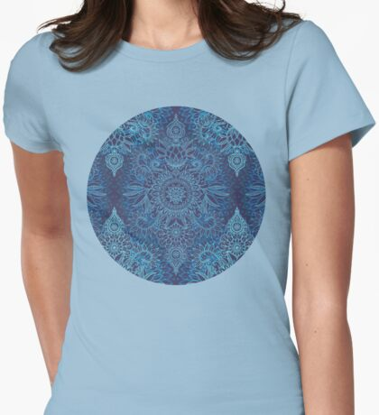 Aqua, Cobalt Blue & Purple Protea Doodle Pattern Womens Fitted T-Shirt