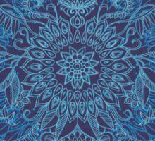 Aqua, Cobalt Blue & Purple Protea Doodle Pattern Sticker