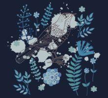 Bird with flowers One Piece - Short Sleeve