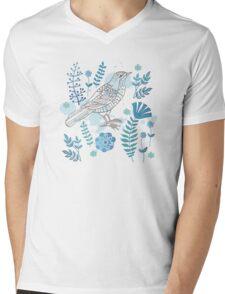 Bird with flowers Mens V-Neck T-Shirt