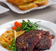 Kobe Sirloin Steak by Charuhas  Images