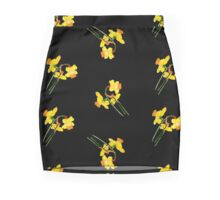 Watercolor spring narcissus Mini Skirt