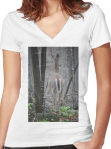 Deer Looks in Ravine Women's Fitted V-Neck T-Shirt