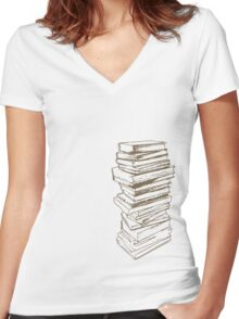 Stack of Knowledge Women's Fitted V-Neck T-Shirt