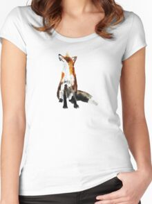 The Fox Woodland Wild Animal Acrylics Painting Women's Fitted Scoop T-Shirt