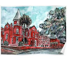 Forsyth Mansion Hotel Savannah Georgia watercolor painting Poster