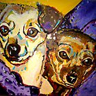 'Ryoko & Ladybird' Chihuahua and Dachshund mixed by Kelly Telfer