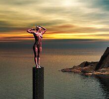 Woman statue watching the Island by Godwin Jacob D'Souza