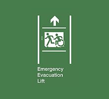 Emergency Evacuation Lift Sign, Left Hand Up Arrow, with the Accessible Means of Egress Icon and Running Man, part of the Accessible Exit Sign Project by Egress Group Pty Ltd