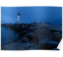 Lighthouse At Night Poster