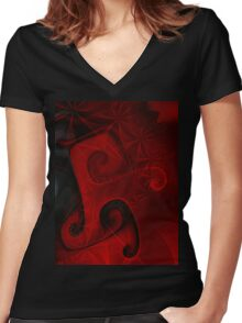 Red Floral Gnarl T Women's Fitted V-Neck T-Shirt