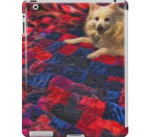 White Dog on a Handmade Quilt iPad Case/Skin
