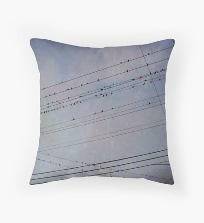 Birds on Wires Throw Pillow