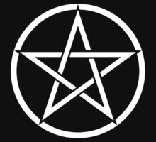 Pentacle, Witch, Modern Pagan, WICCA, Witchcraft, religion, White on Black by TOM HILL - Designer