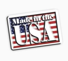 Made in the USA, with Flag, manufactured in America, American, by TOM HILL - Designer