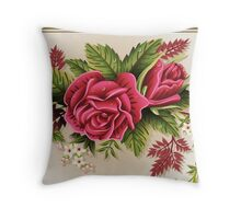 Roses Ornament on Vintage Frame Throw Pillow