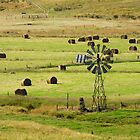 Windmill & Hay Bales by Harry Oldmeadow