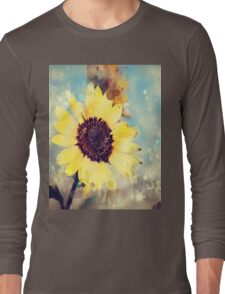 western country impressionism art watercolor sunflower Long Sleeve T-Shirt