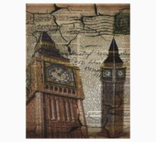 retro newspaper print vintage london landscape big ben One Piece - Short Sleeve