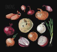 illustration of retro organic Onions set One Piece - Short Sleeve