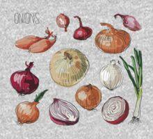 illustration of retro organic Onions set One Piece - Long Sleeve