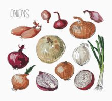 illustration of retro organic Onions set One Piece - Long Sleeve