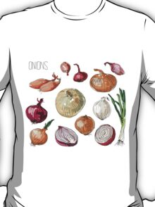 illustration of retro organic Onions set T-Shirt