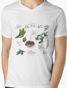 illustration set with hand drawn herbs Mens V-Neck T-Shirt