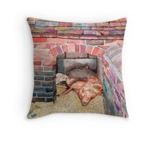 Tamworth Sow and Piglets Throw Pillow
