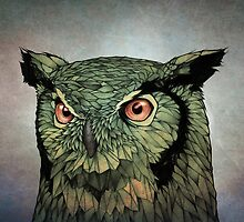 Owl - Red Eyes by Puddingshades