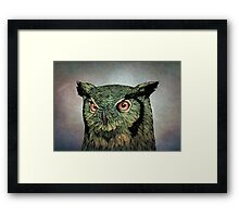 Owl - Red Eyes Framed Print