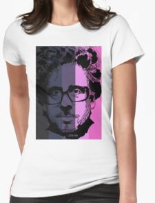 Tim Burton in stripy background! Womens Fitted T-Shirt