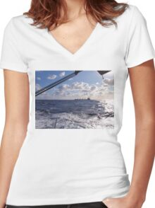 Sailing Fast In Company Women's Fitted V-Neck T-Shirt