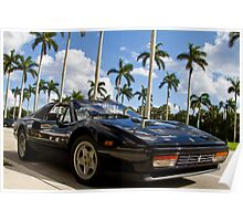 Bright Sports Car on a Sunny Day in Miami Poster