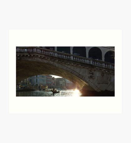 Rialto Bridge at Christmas Art Print