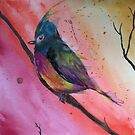 Chubby Watercolor Bird by Chelsea Leichter