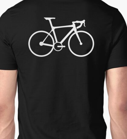 Bicycle, Racing Bike, Road Bike, Racing Bicycle, White on Black Unisex T-Shirt