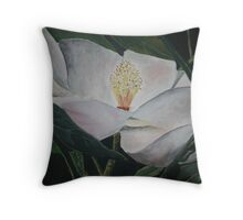 magnolia flower oil painting Throw Pillow
