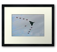 Avro Vulcan Escorted by the Red Arrows Framed Print