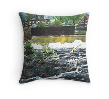 fly fishing the chattahoochee river painting Throw Pillow