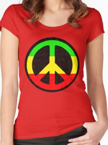Rasta Peace Sign Women's Fitted Scoop T-Shirt
