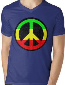 Rasta Peace Sign Mens V-Neck T-Shirt