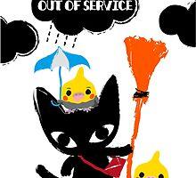 BLACK CAT & COCKATIELS by Chandelina