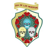 DIAS DE LOS MUERTOS DAY OF THE DEAD CELEBRATION SKULLS SHIELD ROSES by Desenatorul1976